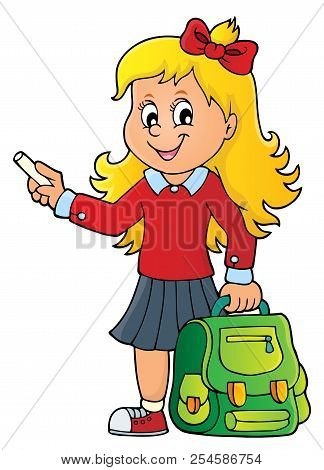 Happy Pupil Girl Theme Image 7 - Eps10 Vector Picture Illustration.