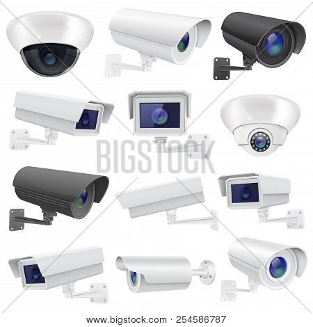 Cctv Camera. Large Collection Of White And Black Security Surveillance System. Wall And Ceiling Moun