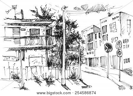 Urban Landscapes In Hand Drawn Ink Line Style. Old City Street Sketch On White Background. Illustrat