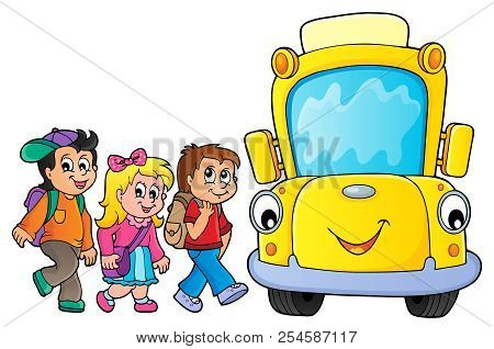 Children By School Bus Theme Image 3 - Eps10 Vector Picture Illustration.