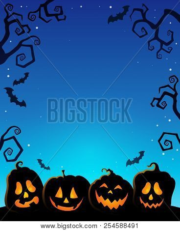Pumpkin Silhouettes Thematics Image 1 - Eps10 Vector Picture Illustration.