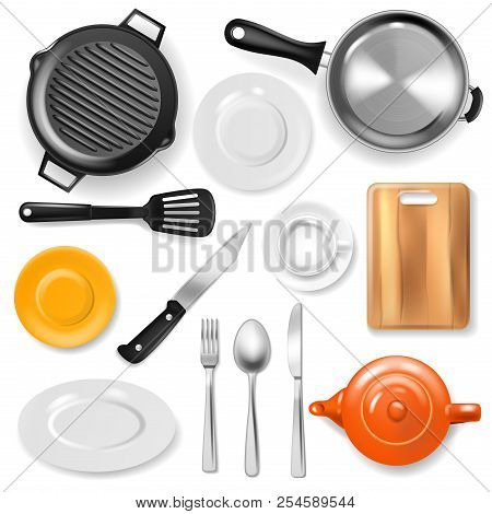 Pan Vector Kitchenware Or Cookware For Cooking Food With Kitchen Utensil Cutlery And Plate Illustrat