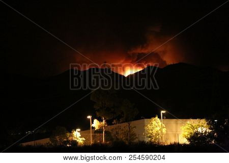 Wild Fire. California Wild Fire seen at night