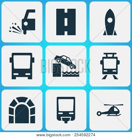 Shipment icons set with loose chipping, monorail, road and other riverbank elements. Isolated vector illustration shipment icons. poster