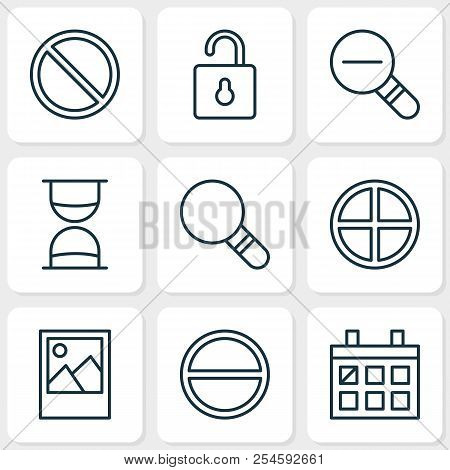 Internet Icons Set With Almanac, Sand Timer, Decrease Loup Image Elements. Isolated Vector Illustrat
