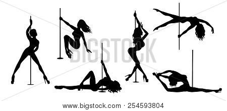 Set Of Vector Silhouette Of Girl And Pole On A White Background. Pole Dance Illustration For Fitness