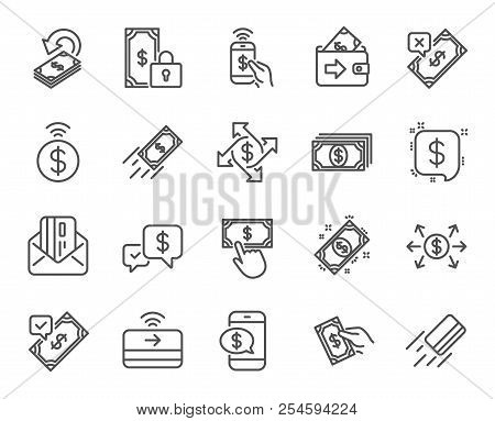 Payment Line Icons. Set Of Accept Transfer, Pay With Phone And Credit Card By Mail Linear Icons. Onl