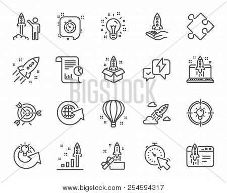 Startup Line Icons. Set Of Launch Project, Business Report And Target Linear Icons. Strategy, Develo