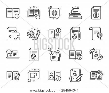 Technical Documentation Line Icons. Set Of Instruction, Plan And Manual Linear Icons. Help Documents