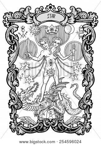 Star. Major Arcana Tarot Card. The Magic Gate Deck. Fantasy Engraved Vector Illustration With Occult
