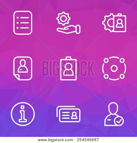 Work icons line style set with information, id, selection and other configuration elements. Isolated  illustration work icons. poster