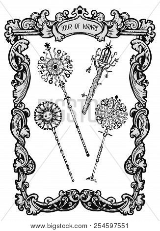 Four Of Wands. Minor Arcana Tarot Card. The Magic Gate Deck. Fantasy Engraved Vector Illustration Wi