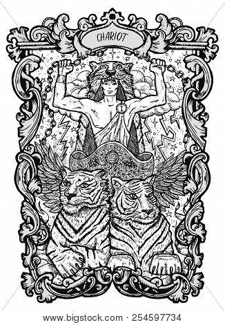 Chariot. Major Arcana Tarot Card. The Magic Gate Deck. Fantasy Engraved Vector Illustration With Occ