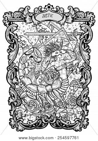 Justice. Major Arcana Tarot Card. The Magic Gate Deck. Fantasy Engraved Vector Illustration With Occ