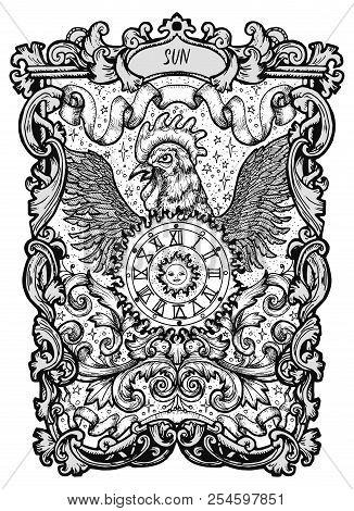 Sun. Major Arcana Tarot Card. The Magic Gate Deck. Fantasy Engraved Vector Illustration With Occult