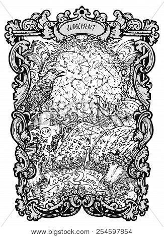 Judgement. Major Arcana Tarot Card. The Magic Gate Deck. Fantasy Engraved Vector Illustration With O