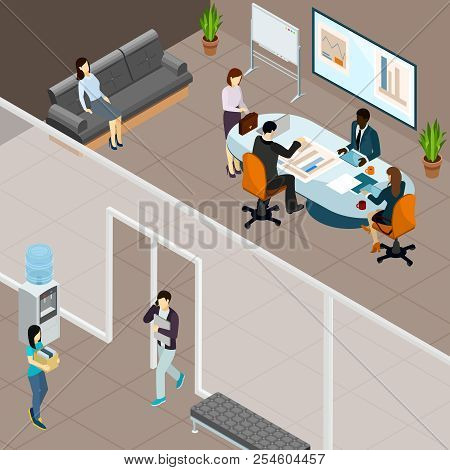 Business Meeting In Office Isometric Composition With Personnel At Table With Coffee Gadgets And Rep