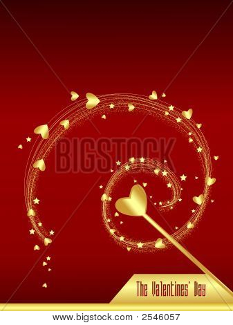 Magic Golden Hearts On Red Background