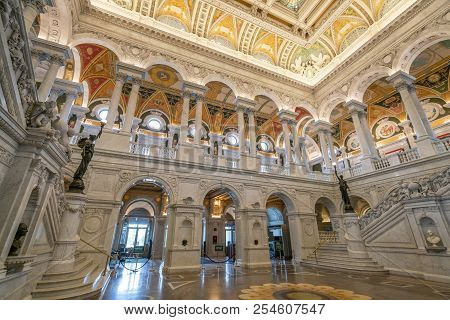 Washington Dc, Usa - May 18, 2018: Great Hall Of The Library Of Congress In Washington Dc