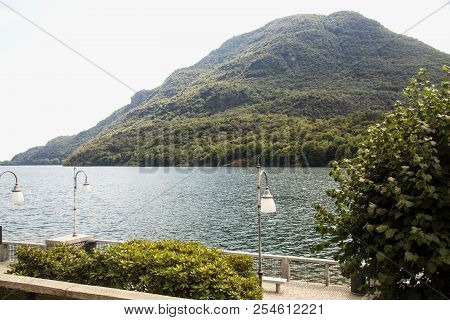 Lakeside With Mountain On The Background