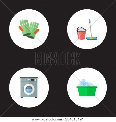 Set Of Cleaning Icons Flat Style Symbols With Bucket With Besom, Washing Machine, Cleaning Gloves An