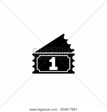 Raffle Ticket. Flat Vector Icon Illustration. Simple Black Symbol On White Background. Raffle Ticket