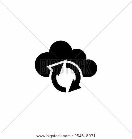Cloud Reload Sync Refresh. Flat Vector Icon illustration. Simple black symbol on white background. Cloud Reload Sync Refresh sign design template for web and mobile UI element poster