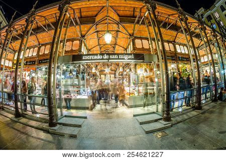 Madrid, Spain - October 28, 2017: Night Outside View Of The