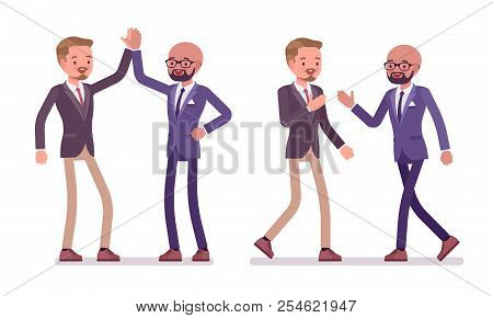 Men friendly greeting vector photo free trial bigstock men friendly greeting male friends giving high five and handshake office behavior business m4hsunfo