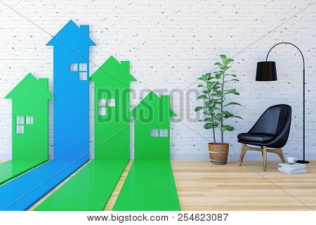 3d House-shaped Arrow Bar Graph Go Upward In Living Room Indexing Real Estate Demand And Value, 3d R