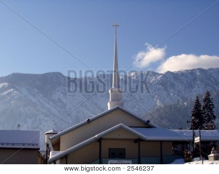 Church Spire On Winter Day