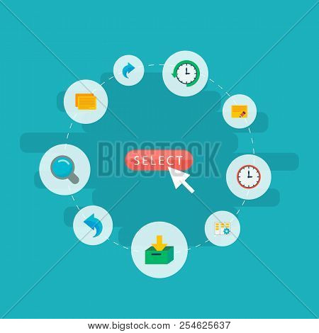 Set of task manager icons flat style symbols with log time, undo, task and other icons for your web mobile app logo design. poster
