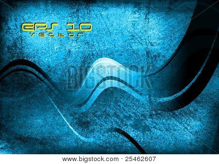 Blue wave vector background. Grunge style eps 10
