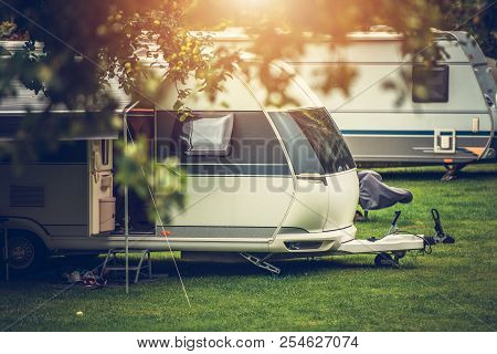 Recreational Vehicle Camping. Vacation In A Travel Trailer. Rv Theme.
