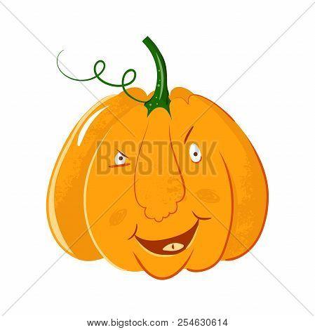Vector Pumpkin Head Portrait With Cunning Smile Emotions For Halloween Celebration. Cute Cartoon Gou