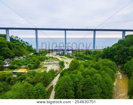 Drone View Of The Zubova Schel Viaduct Between Mountainsides With Forest On The Background Of The Se