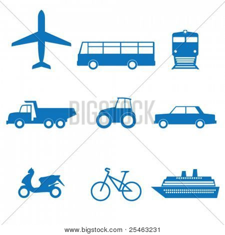 Vector illustration of icons on transport