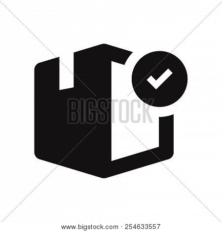 Box With Checked Icon Isolated On White Background. Box With Checked Icon In Trendy Design Style. Bo