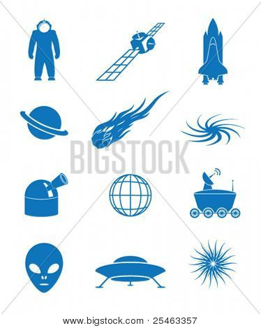 Vector illustration of icons on the cosmos