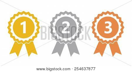 Champion Gold, Silver And Bronze Award Medals Vector Illustration Eps10