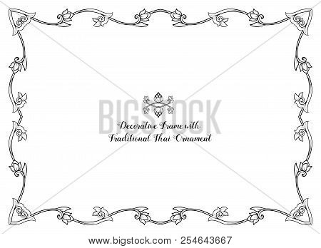 Frame With Decorative Elements Of Traditional Thai Ornament. Sto