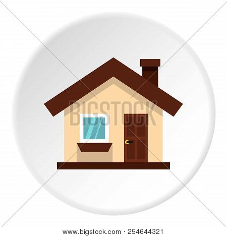 One Storey House With Chimney Icon. Flat Illustration Of One Storey House With Chimney Icon For Web