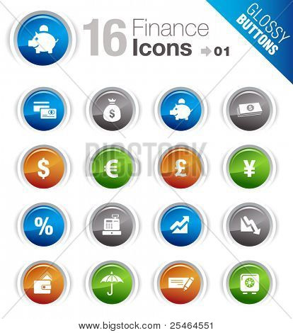 Glossy buttons - Finance icons