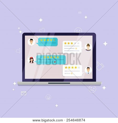 Laptop With Review Rating. Reviews Stars With Good And Bad Rate And Text, Concept Of Testimonials Me