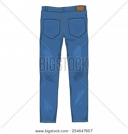 Vector Cartoon Illustration - Denim Jeans Pants. Back View.