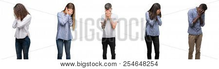 Group and team of young business people over isolated white background with sad expression covering face with hands while crying. Depression concept.