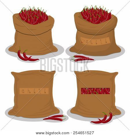 Vector Illustration For Bags Filled With Vegetable Red Hot Chili Pepper, Storage In Sacks. Chili Pat