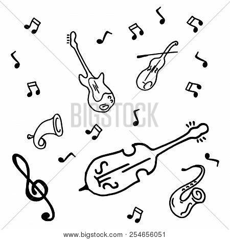 Musical Instruments, Violin, Guitar, Saxophone Doodle. Vector Illustration Of A Guitar, A Violin And