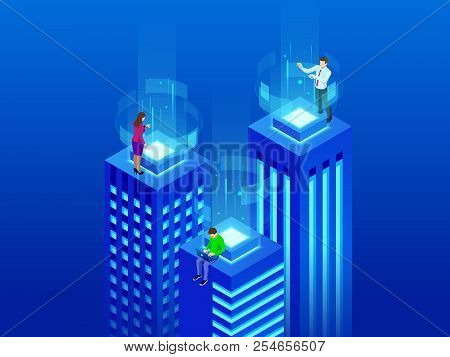 Isometric Intelligent Buildings. Smart City Concept. Business Center With Skyscrapers Connected To T