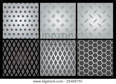 Metal texture 6 set. Illustration vector.